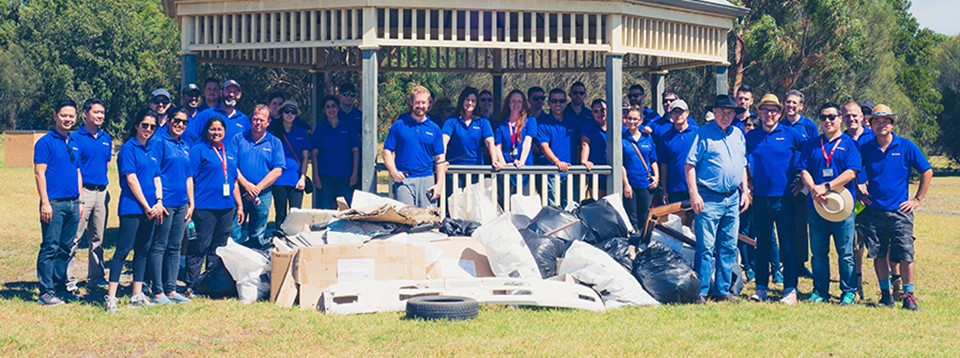 Officeworks team members worked together to help clean up Australia