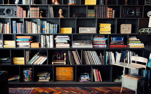 Beautiful bookshelf filled with books and games
