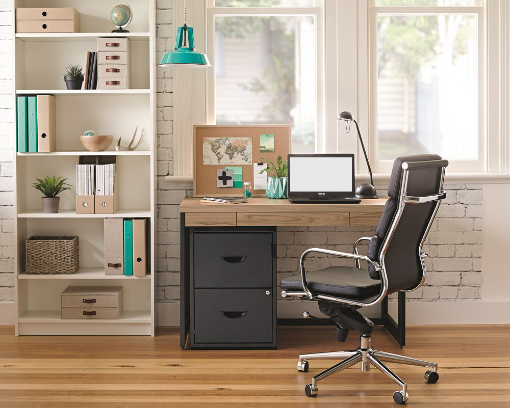 organised minimalist office high-backed office chair