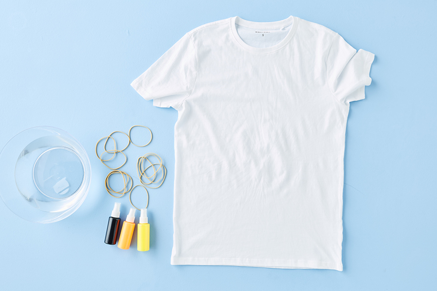 Use restraint when tie-dying for custom T-shirts.