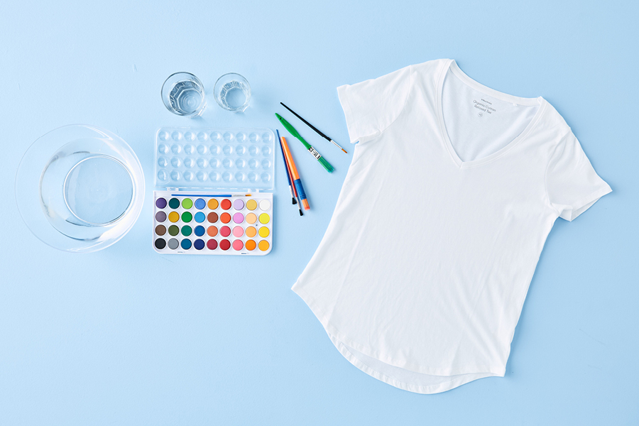 Don't be afraid to try watercolours of all shades when designing this T-shirt