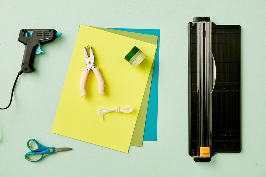 Coloured board and a paper trimmer make these DIY invitations easy.