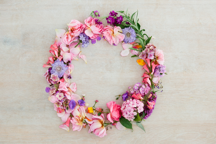A flower wreath is an art and craft project that can be done solo or in a group