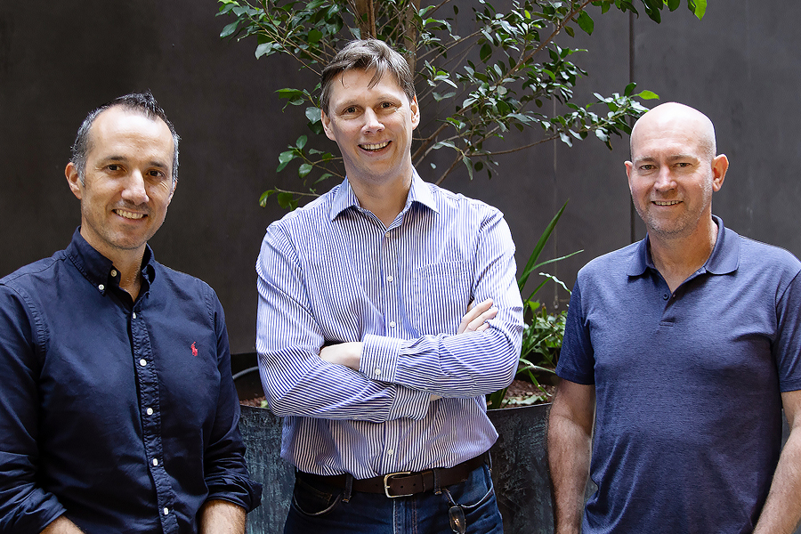Moula's co-founders Aris Allegos, Piers Moller and Andrew Watt.