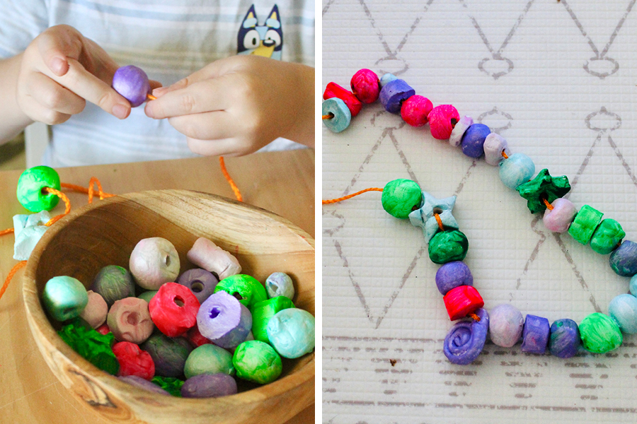 @playtime.messy.madness made air dry clay beads as a fun craft idea for kids.
