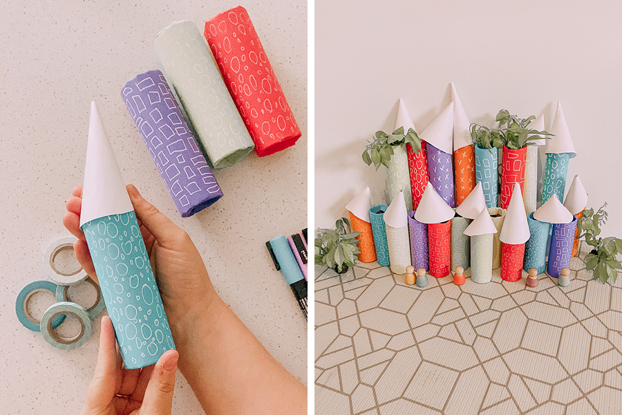 @our.tiny.moments built a cardboard roll city as a fun craft idea for kids.