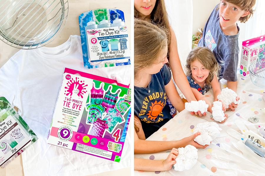 The @where.leaning.meets.play family tried out tie-dying as a fun craft idea for kids.