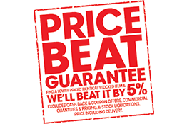Lowest price Guarantee. Find an identical stocked item at a lower price and we'll beat it by 5%.  Exclusions apply.