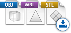 OBJ, WRL, STL file icons.