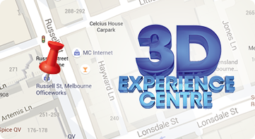 Map showing 3D Experience Centre on Russell Street near Little Lonsdale Street.