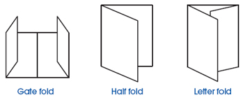 Document folds. Gate fold. Half fold. Letter fold.
