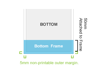 Bottom: 80mm of your image is lost when attached to frame.