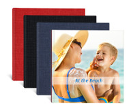 Cover examples: Red material linen, Black material linen, Blue material linen and Photo cover.
