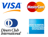 Visa, MasterCard, Diners Club International, American Express